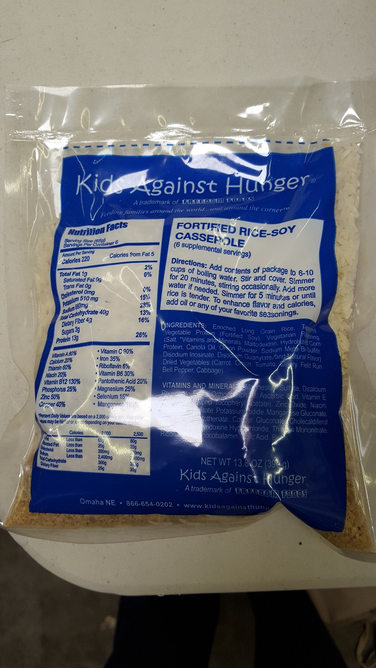 Kids Against Hunger Rice Soy Casserole