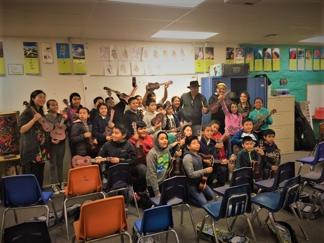 Narada Michael Walden Producer and Musician at Ukulele Class San Pedro Elem School